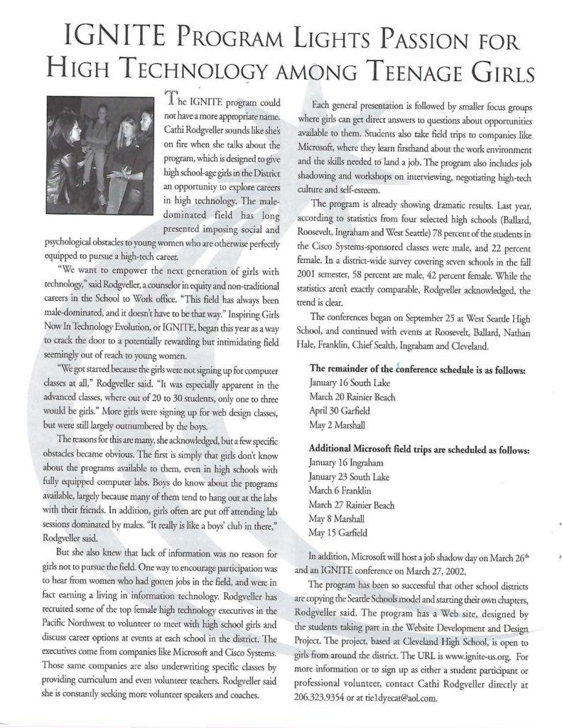 Seattle Schools CTE highlights IGNITE 2001